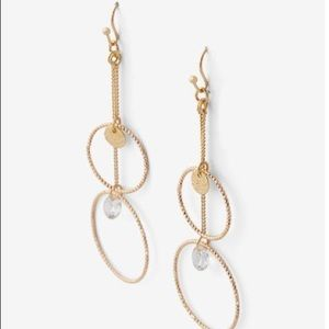 Gold Double Circle Crystal Drop Earrings